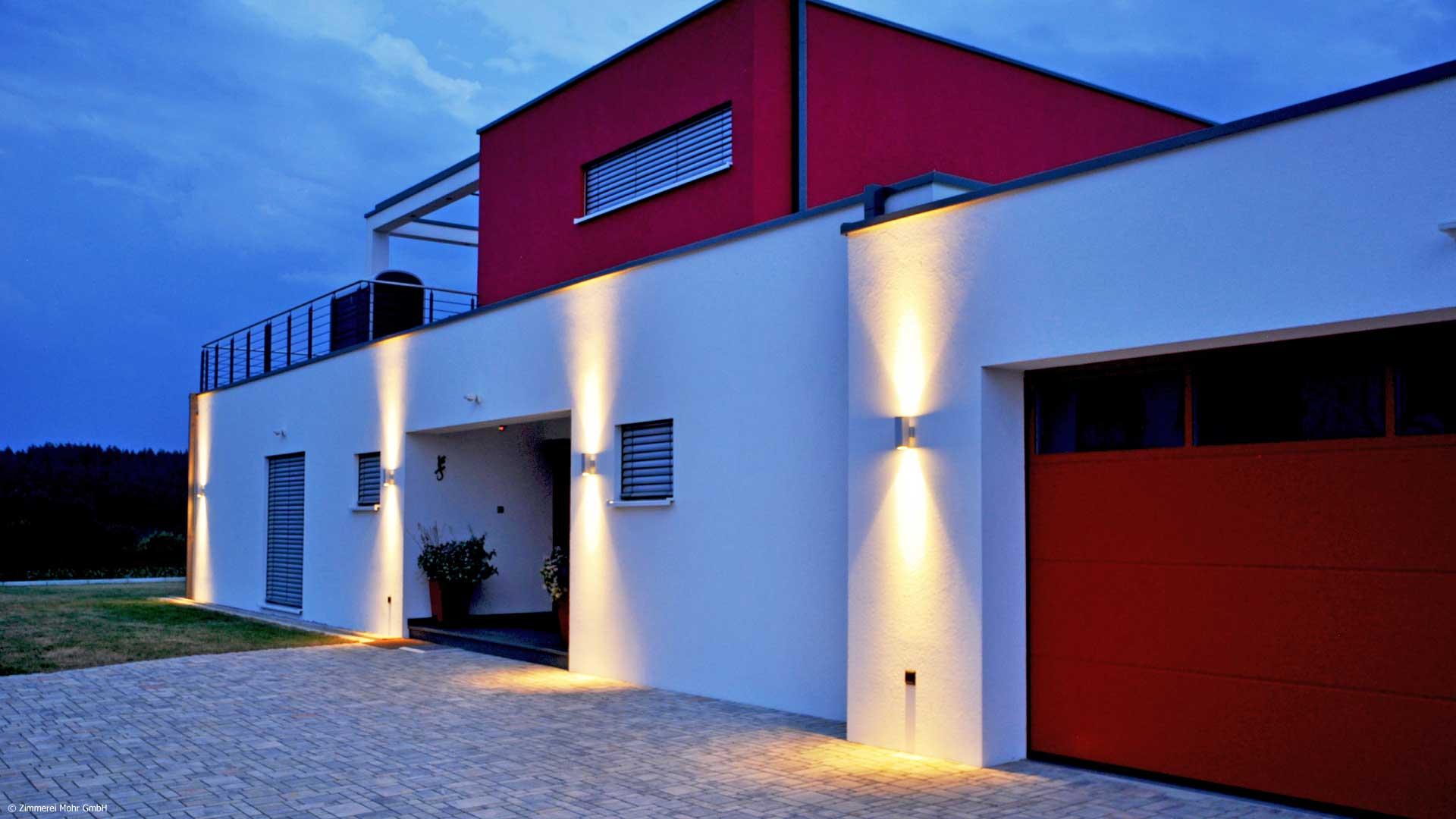 Bauhaus Villa PURE Einfamilienhaus mit Smart Home Nachansicht